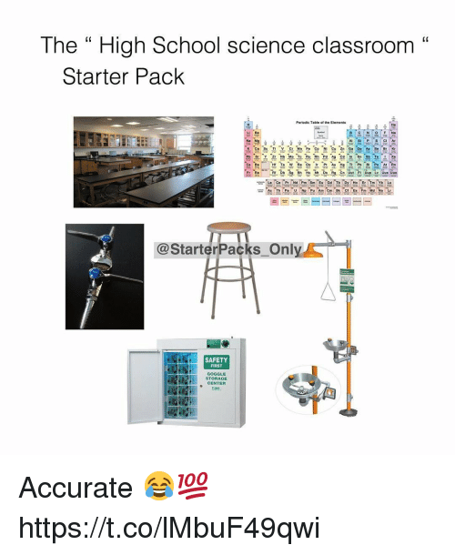 """periodic table: The """" High School science classroom""""  C0  Starter Pack  Periodic Table of the Elements  He  Li Be  P SCI Ar  K Ca Sc Ti V Cr Mn F Co NI C ZnGa Ge As SeBr Kr  Rb Sr Y Z Nb Mo Te Ru Rh Pd Ag Cd In Sn Sb TeXe  Eu Gd Tb  @StarterPacks Onl  SAFETY  FIRST  GOGGLE  STORAGE  CENTER  啪 Accurate 😂💯 https://t.co/lMbuF49qwi"""