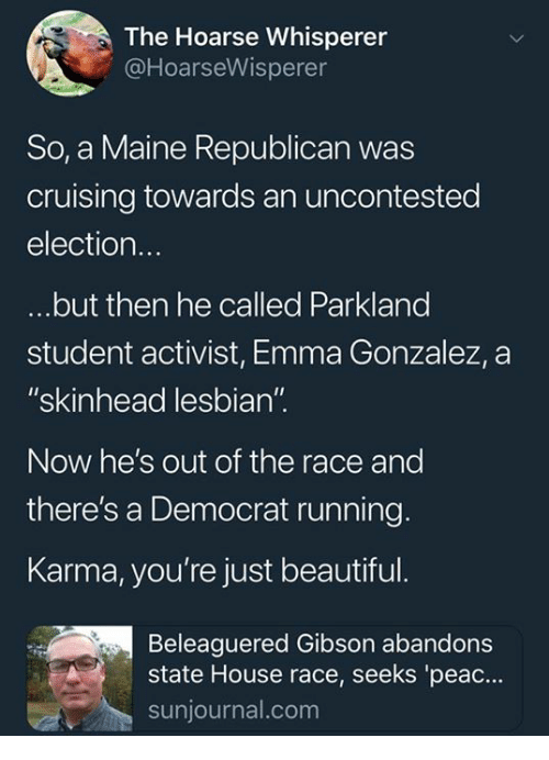 """cruising: The Hoarse Whisperer  @HoarseWisperer  So, a Maine Republican was  cruising towards an uncontested  election.  but then he called Parkland  student activist, Emma Gonzalez, a  """"skinhead lesbian"""".  Now he's out of the race and  there's a Democrat running  Karma, you're just beautiful.  Beleaguered Gibson abandons  state House race, seeks 'peac...  sunjournal.com"""