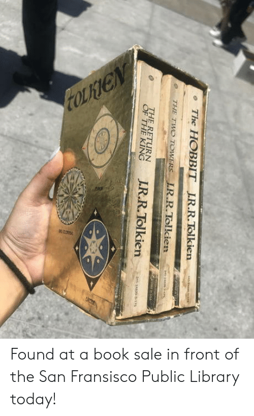 Book, Hobbit, and Library: The HOBBIT IR.R.Tolkien  e THE TWO TOWERS LR.R.Tolkien  THE RETURN  en Found at a book sale in front of the San Fransisco Public Library today!