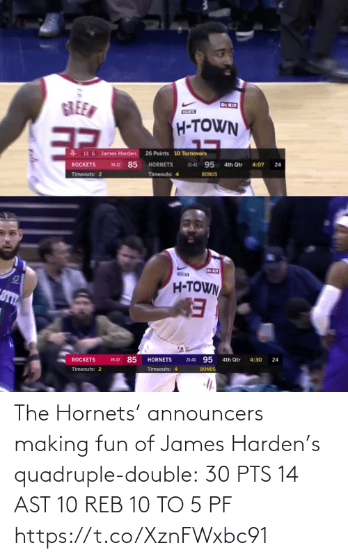 making fun: The Hornets' announcers making fun of James Harden's quadruple-double:  30 PTS  14 AST 10 REB 10 TO 5 PF   https://t.co/XznFWxbc91