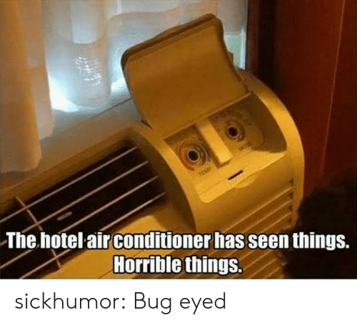 Hotel: The hotel air conditioner has seen things.  Horrible things. sickhumor:  Bug eyed