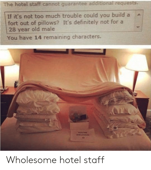 Hotel: The hotel staff cannot quarantee additional requests.  If it's not too much trouble could you build a  fort out of pillows? It's definitely not for a  28 year old male  You have 14 remaining characters.  YOPRE  WELCOME Wholesome hotel staff
