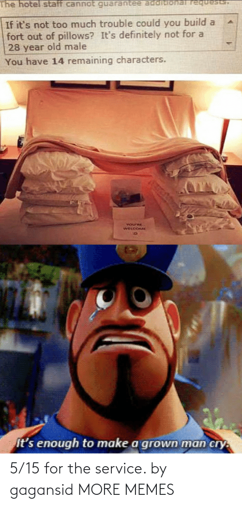 Characters: The hotel staff cannot requests,  If it's not too much trouble could you build a  fort out of pillows? It's definitely not for a  28 year old male  You have 14 remaining characters.  YOurRE  WELCOME  It's enough to make a grown man cry. 5/15 for the service. by gagansid MORE MEMES