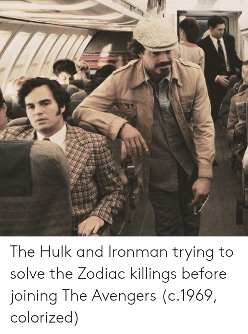 Hulk, Avengers, and The Avengers: The Hulk and Ironman trying to solve the Zodiac killings before joining The Avengers (c.1969, colorized)