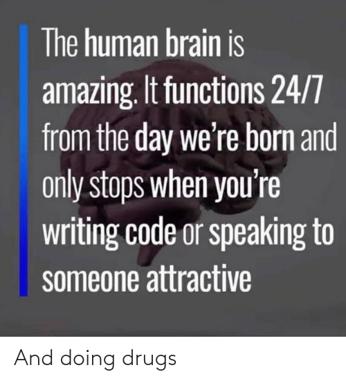 Stops: The human brain is  amazing. It functions 24/7  from the day we're born and  only stops when you're  writing code or speaking to  someone attractive And doing drugs