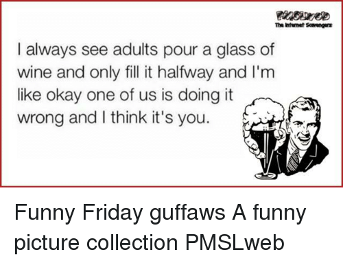 funny picture: The Ihfemet Scaengers  I always see adults pour a glass of  wine and only fill it halfway and I'm  like okay one of us is doing it  wrong and I think it's you. <p>Funny Friday guffaws  A funny picture collection  PMSLweb </p>