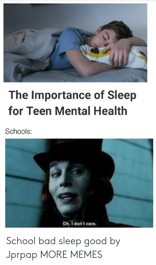 Bad, Dank, and Memes: The Importance of Sleep  for Teen Mental Health  Schools:  Oh I don't care School bad sleep good by Jprpap MORE MEMES