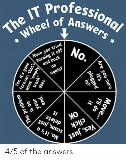 """Click, Trash, and Uno: The IT Professional  Wheel of Answers  Have you tried  turning it off  and back  on  again?  No.  Ок  scam, just  No, it's a  it  delete  click  Yes, just  Are you sure  Yes, it's gone  uno  forever, that's/  what """"empty  it's  plugged  in?  trash""""  does.  I'll do  Move...  it  end.  The problem 4/5 of the answers"""
