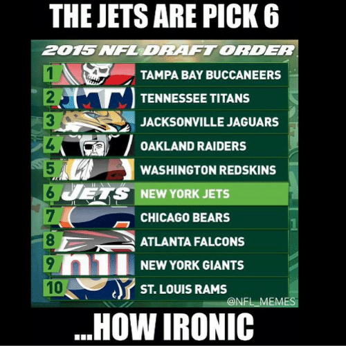 washington redskins: THE JETS ARE PICK 6  ZDRAFTORDER  1N TAMPA BAY BUCCANEERS  TENNESSEE TITANS  JACKSONVILLE JAGUARS  OAKLAND RAIDERS  WASHINGTON REDSKINS  JETS NEW YORK JETS  CHICAGO BEARS  ATLANTA FALCONS  n1 NEW YORK GIANTS  10  ST LOUIS RAMS  ONFL EM  HOW IRONIC