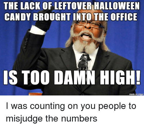 Candy, Halloween, and The Office: THE LACK OF LEFTOVER HALLOWEEN  CANDY BROUGHT INTO THE OFFICE  IS TOO DAMN HIGH!  made on imgur I was counting on you people to misjudge the numbers