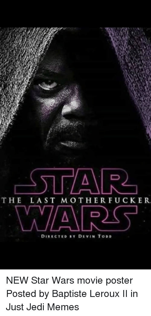 Jedi, Memes, and Star Wars: THE LAST MOTHERFUCKER  DIRECTED SY DIVIN TODD NEW Star Wars movie poster  Posted by Baptiste Leroux II‎ in Just Jedi Memes