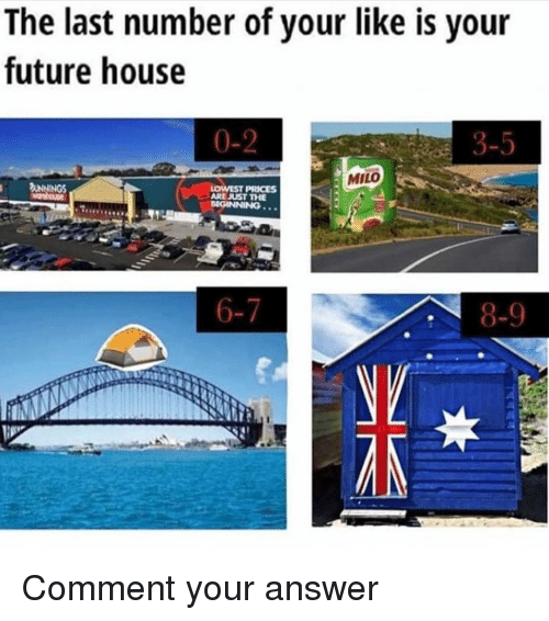 Future, Memes, and House: The last number of your like is your  future house  0-2  3-5  MILO  ARE JUST THE  8-9 Comment your answer