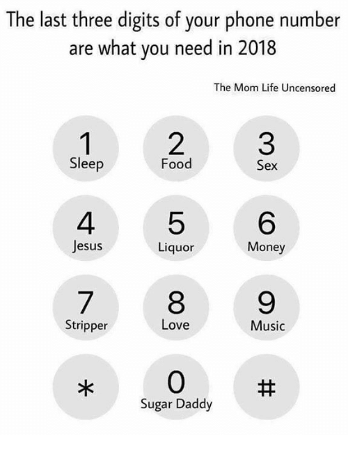 Food, Jesus, and Life: The last three digits of your phone number  are what you need in 2018  The Mom Life Uncensored  3  6  9  Sleep  Food  Sex  4  Jesus  5  8  0  quor  Money  Stripper  Love  Music  Sugar Daddy