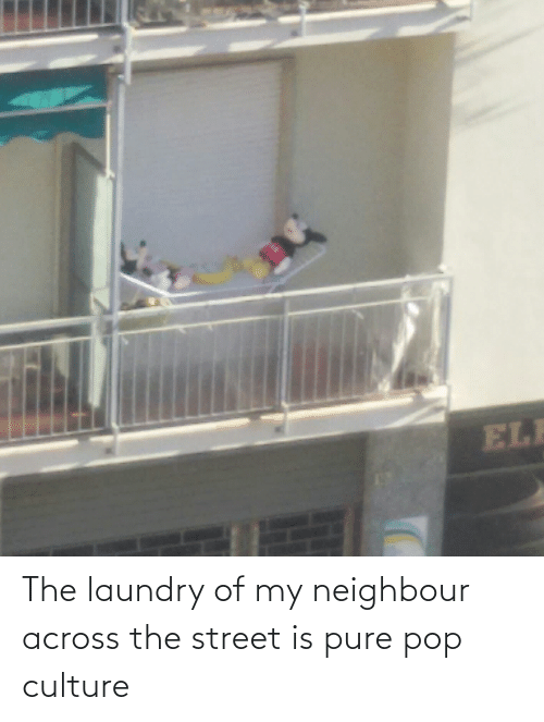 pop culture: The laundry of my neighbour across the street is pure pop culture