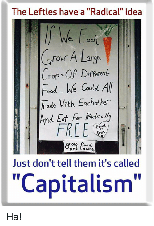 "Cou: The Lefties have a ""Radical"" idea  f We Eci  Cror A Large  Crop OF Diferen  oodWe COu  ade With Eachother  And Eat For  FREE  ie  cow food  not Lawns  Just don't tell them it's called  ""Capitalism"" Ha!"