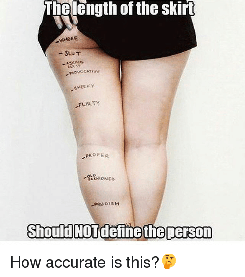 provocative: The length of the skirt  WHORE  SLUT  PROVOCATIVE  CHEEKY  FLIRTY  PROPER  RASHIONED  PRUDI  should NOTdefine theperson How accurate is this?🤔