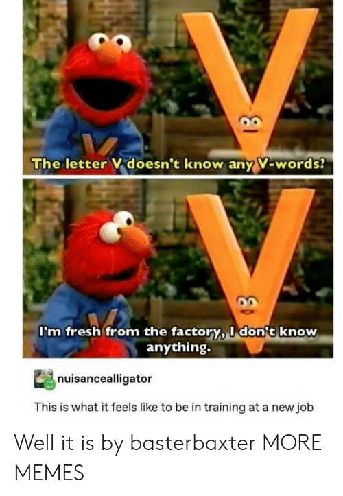 Dank, Fresh, and Memes: The letter V doesn't know any V-words?  I'm fresh from the factory, I don't know  anything.  nuisancealligator  This is what it feels like to be in training at a new job Well it is by basterbaxter MORE MEMES