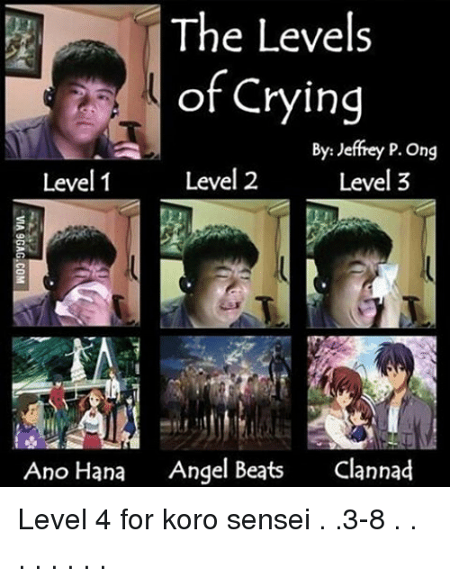 Memes, Clannad, and 🤖: The Levels  of Crying  By: Jeffrey P. Ong  Level 2  Level 3  Level 1  Ano Hana  Angel Beats  Clannad Level 4 for koro sensei . .3-8 . . . . . . . .