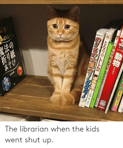 librarian: The librarian when the kids went shut up.