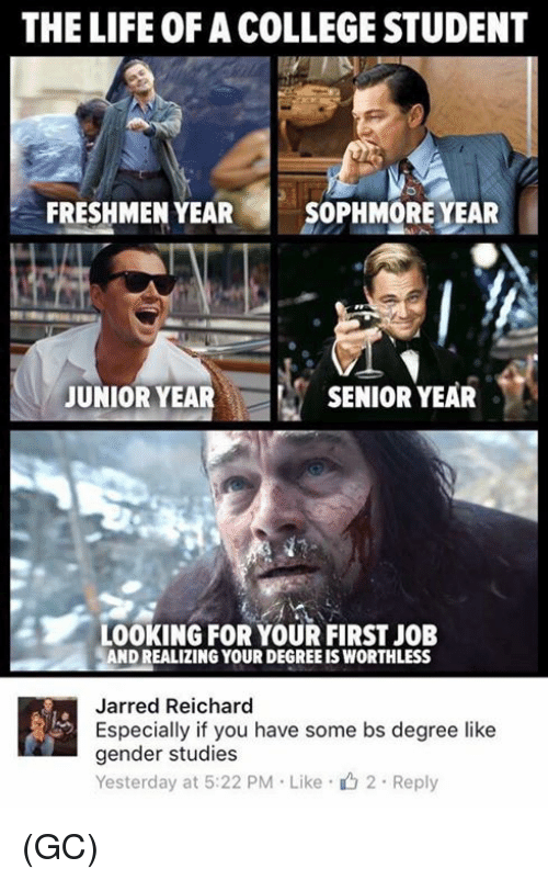 Sophmoric: THE LIFE OF A COLLEGESTUDENT  FRESHMEN YEAR  SOPHMORE YEAR  JUNIOR YEAR  SENIOR YEAR  LOOKING FOR YOUR FIRST JOB  AND REALIZING YOUR DEGREEIS WORTHLESS  Jarred Reichard  Especially if you have some bs degree like  gender studies  Yesterday at 5:22 PM Like 2 Reply (GC)