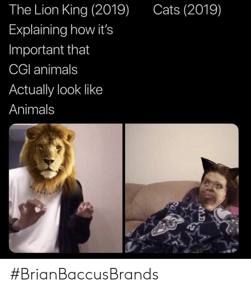 Lion King: The Lion King (2019)  Cats (2019)  Explaining how it's  Important that  CGI animals  Actually look like  Animals #BrianBaccusBrands