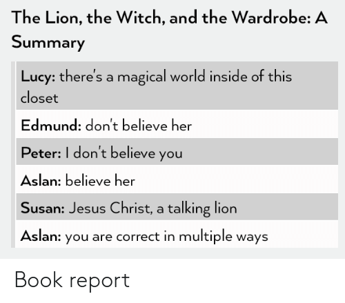 Jesus, Book, and Lion: The Lion, the Witch, and the Wardrobe: A  Summary  Lucy: there's a magical world inside of this  closet  Edmund: don't believe her  Peter: I don't believe you  Aslan: believe her  Susan: Jesus Christ, a talking lion  Aslan: you are correct in multiple ways Book report