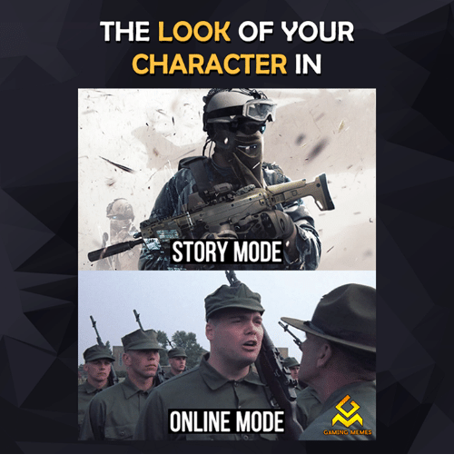 Game Meme: THE LOOK OF YOUR  CHARACTER  IN  STORY MODE  ONLINE MODE  GAMING MEMES