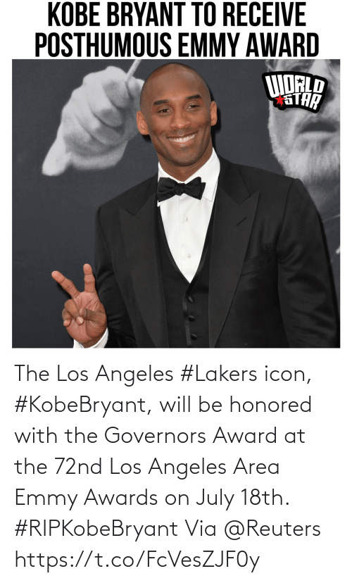 icon: The Los Angeles #Lakers icon, #KobeBryant, will be honored with the Governors Award at the 72nd Los Angeles Area Emmy Awards on July 18th. #RIPKobeBryant Via @Reuters https://t.co/FcVesZJF0y