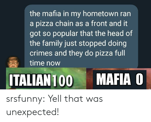 Family, Head, and Pizza: the mafia in my hometown ran  a pizza chain as a front and it  got so popular that the head of  the family just stopped doing  crimes and they do pizza full  time now  MAFIA O  ITALIAN 100 srsfunny:  Yell that was unexpected!