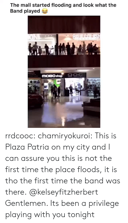 assure: The mall started flooding and look what the  Band played  BrDLCo SH  ONL  MOBO shop 900 rrdcooc:  chamiryokuroi: This is Plaza Patria on my city and I can assure you this is not the first time the place floods, it is tho the first time the band was there. @kelseyfitzherbert  Gentlemen. Its been a privilege playing with you tonight