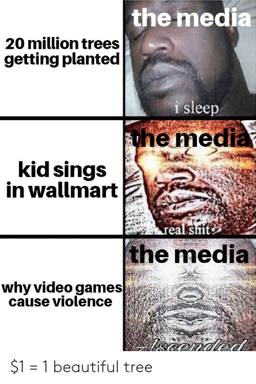 Violence: the media  20 million trees  getting planted  i sleep  the media  kid sings  in wallmart  real sit  the media  why video games  cause violence  eonded $1 = 1 beautiful tree