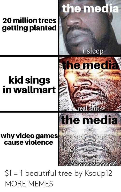 Violence: the media  20 million trees  getting planted  i sleep  the media  kid sings  in wallmart  real sit  the media  why video games  cause violence  eonded $1 = 1 beautiful tree by Ksoup12 MORE MEMES