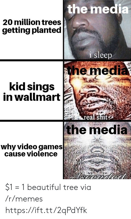 Sings: the media  20 million trees  getting planted  i sleep  the media  kid sings  in wallmart  real sit  the media  why video games  cause violence  eonded $1 = 1 beautiful tree via /r/memes https://ift.tt/2qPdYfk