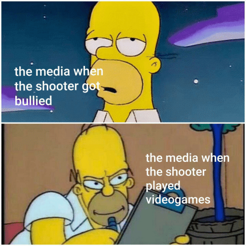 The Shooter, Got, and Media: the media when  the shooter got  bullied  the media when  the shooter  played  videogames