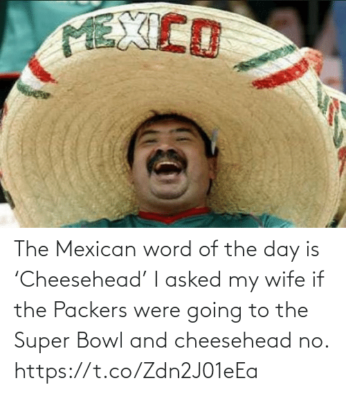 Going To: The Mexican word of the day is 'Cheesehead'  I asked my wife if the Packers were going to the Super Bowl and cheesehead no. https://t.co/Zdn2J01eEa
