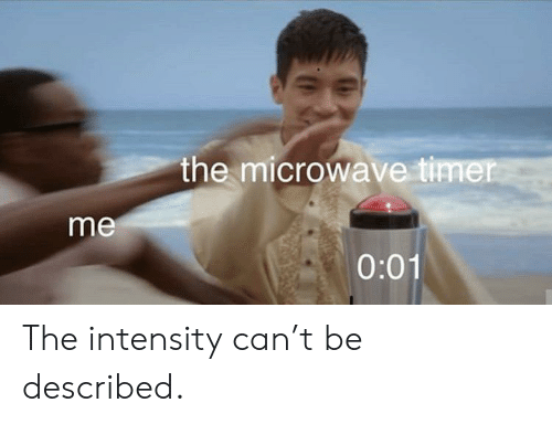 Microwave, Can, and Intensity: the microwave timer  me  0:01 The intensity can't be described.