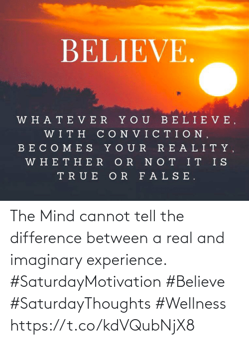 Experience: The Mind cannot tell the difference between a real  and imaginary experience.   #SaturdayMotivation #Believe  #SaturdayThoughts #Wellness https://t.co/kdVQubNjX8