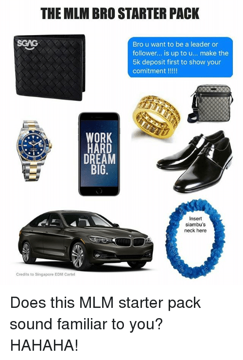 Memes, Work, and Singapore: THE MLM BRO STARTER PACK  SGAG  Bro u want to be a leader or  follower... is up to u... make the  5k deposit first to show your  WORK  HARD  DREAM  BIG  siambu's  Credits to Singapore EDM Cartel Does this MLM starter pack sound familiar to you? HAHAHA!