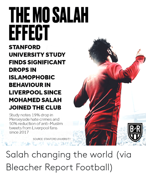 Club, Football, and Muslim: THE MO SALAH  EFFECT  STANFORD  UNIVERSITY STUDY  FINDS SIGNIFICANT  DROPS IN  ISLAMOPHOBIC  BEHAVIOUR IN  LIVERPOOL SINCE  MOHAMED SALAH  JOINED THE CLUB  Study notes 19% drop in  Merseyside hate crimes and  50% reductionof anti-Muslim  tweets from Liverpool fans  B R  since 2017  FOOTBALL  SOURCE: STANFORD UNIVERSITY Salah changing the world  (via Bleacher Report Football)