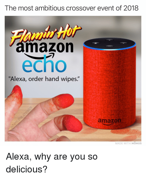 "Amazon, Memes, and 🤖: The most ambitious crossover event of 2018  mazon  echo  ""Alexa, order hand wipes.""  amazon  MADE WITH MOMUS Alexa, why are you so delicious?"