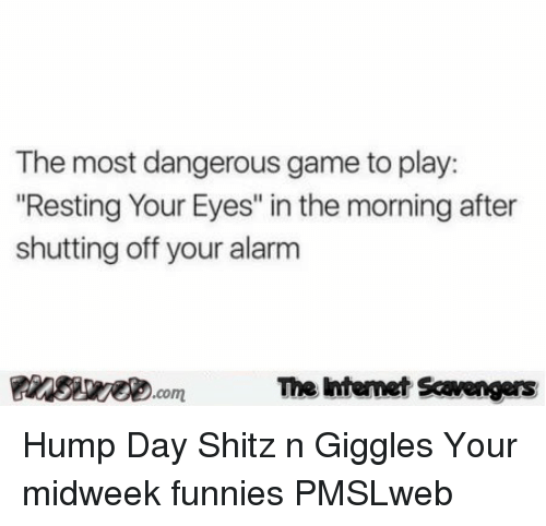 "Hump Day: The most dangerous game to play:  Resting Your Eyes"" in the morning after  shutting off your alarm  PinsiwecomThe htemet Scavengers <p>Hump Day Shitz n Giggles  Your midweek funnies  PMSLweb </p>"