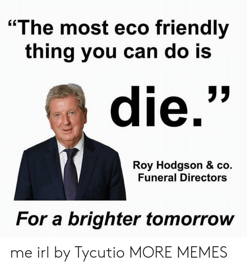 """roy hodgson: """"The most eco friendly  thing you can do Is  die.  Roy Hodgson & co.  Funeral Directors  For a brighter tomorrow me irl by Tycutio MORE MEMES"""
