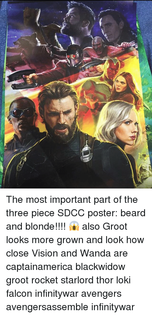 posterize: The most important part of the three piece SDCC poster: beard and blonde!!!! 😱 also Groot looks more grown and look how close Vision and Wanda are captainamerica blackwidow groot rocket starlord thor loki falcon infinitywar avengers avengersassemble infinitywar