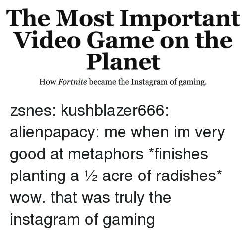 Instagram, Tumblr, and Wow: The Most Important  Video Game on the  Planet  How Fortnite became the Instagram of gaming. zsnes:  kushblazer666:  alienpapacy: me when im very good at metaphors *finishes planting a ½ acre of radishes* wow. that was truly the instagram of gaming
