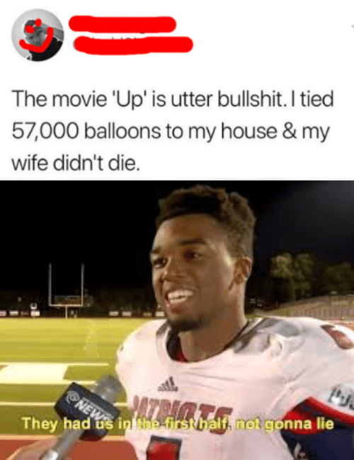 My House, News, and House: The movie 'Up' is utter bullshit. I tied  57,000 balloons to my house & my  wife didn't die.  NEWS  They had s in Nhe-first balf, notgonna lie