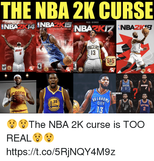 Georg: THE NBA 2K CURSE  PAUL GEORG  MESIC CORATEDAY PHARRELL ILLIAMS  HOMA  PAGER  13  EAT  5F5  ONE  US GAMER  VICLEFER FEATURING  MICHAEL B. JORDAN  MINNESOTA  MIAMI  2  ALD  @NBAMEMES  35  CITY  13  ARRIO  2 😲😲The NBA 2K curse is TOO REAL😲😲 https://t.co/5RjNQY4M9z