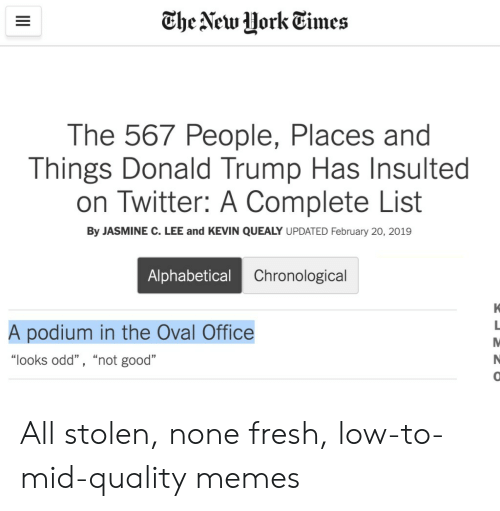 """jasmine: The New HorkEimes  The 567 People, Places and  Things Donald Trump Has Insulted  on Twitter: A Complete List  By JASMINE C. LEE and KEVIN QUEALY UPDATED February 20, 2019  Alphabetical  Chronological  A podium in the Oval Office  """"looks odd"""" , """"not good""""  0 All stolen, none fresh, low-to-mid-quality memes"""