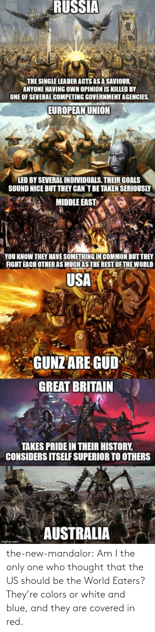 The Us: the-new-mandalor:  Am I the only one who thought that the US should be the World Eaters? They're colors or white and blue, and they are covered in red.