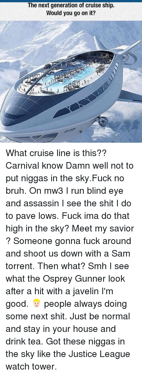 Bruh, Memes, and Run: The next generation of cruise ship.  Would you go on it? What cruise line is this?? Carnival know Damn well not to put niggas in the sky.Fuck no bruh. On mw3 I run blind eye and assassin I see the shit I do to pave lows. Fuck ima do that high in the sky? Meet my savior ? Someone gonna fuck around and shoot us down with a Sam torrent. Then what? Smh I see what the Osprey Gunner look after a hit with a javelin I'm good. 👱🏻 people always doing some next shit. Just be normal and stay in your house and drink tea. Got these niggas in the sky like the Justice League watch tower.