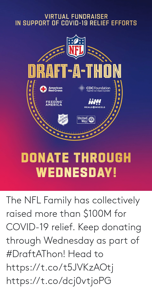 Wednesday: The NFL Family has collectively raised more than $100M for COVID-19 relief. Keep donating through Wednesday as part of #DraftAThon! Head to https://t.co/t5JVKzAOtj https://t.co/dcj0vtjoPG